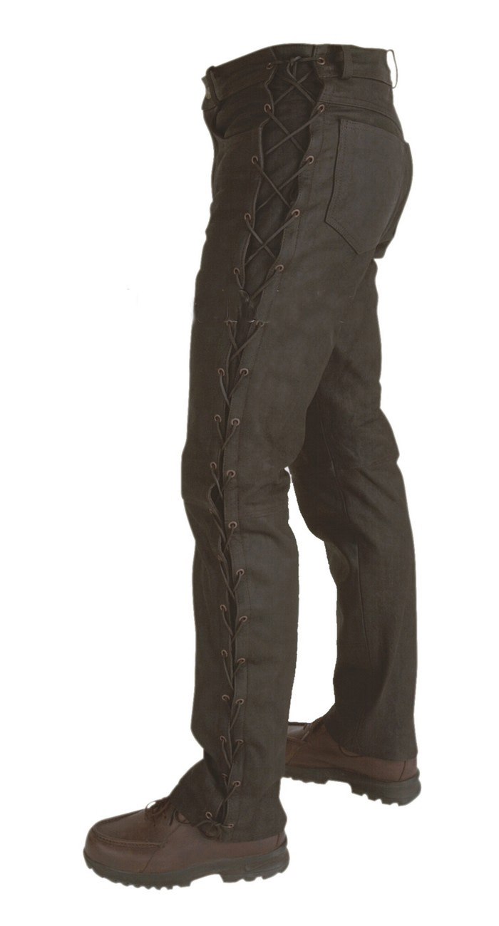 Pantalon cuir SKIPS-LACETS Marron
